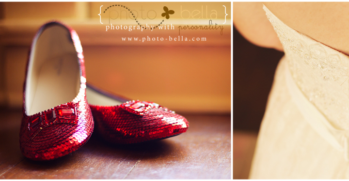photograph of wedding shoes and dress detail